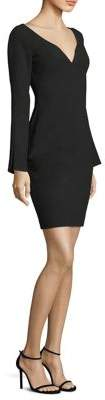 Black Halo Maxwell V-Neck Bell-Sleeve Sheath Dress