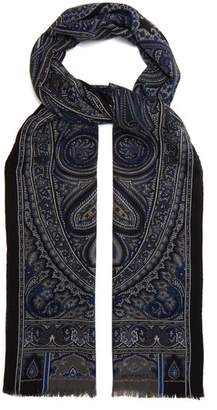 Etro Paisley Print Wool And Cashmere Blend Scarf - Mens - Blue Multi