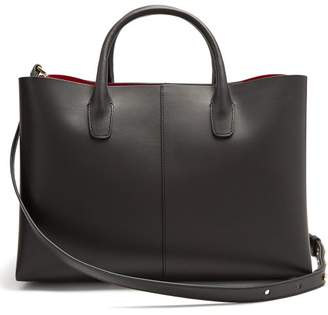 Mansur Gavriel Folded Red Lined Leather Bag - Womens - Black