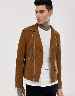 Religion suede biker jacket in beige