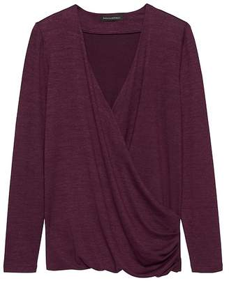 Banana Republic Petite Luxespun Wrap-Front T-Shirt Top