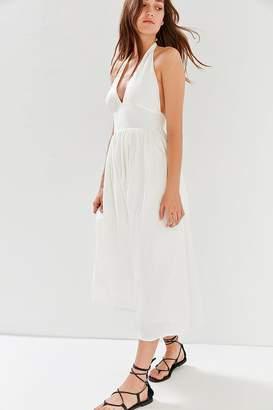 Urban Outfitters Betsey Linen Halter Midi Dress