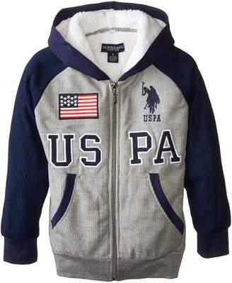 U.S. Polo Assn. Big Boys' Sherpa Lined Thermal Hoodie, Medium Gray
