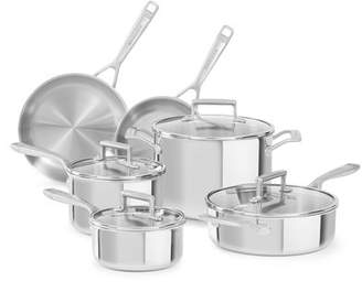 KitchenAid 10 Piece Tri Ply Stainless Steel Cookware Set