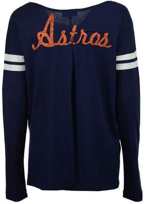 G-iii Sports Women Houston Astros Free Agent Glitter Long Sleeve T-Shirt