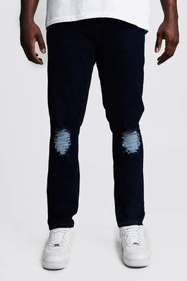 boohoo Big & Tall Skinny Fit Jeans With Ripped Knee