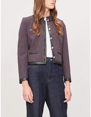 Claudie Pierlot Violaine faux-leather trim checked woven jacket