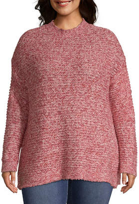 ST. JOHN'S BAY Tweed Mock Neck Sweater - Plus