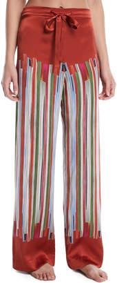 Neiman Marcus Meng Striped Silk Pajama Trousers