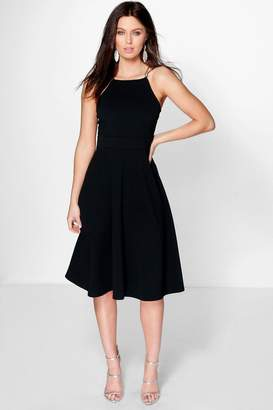 boohoo Textured Fabric Strappy Full Skater Dress