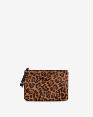 Express Leopard Print Genuine Leather Zip Pouch
