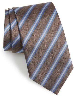 David Donahue Stripe Silk & Cotton Tie