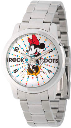 Disney Womens Minnie Mouse Silver Tone Rock theDots Bracelet Watch