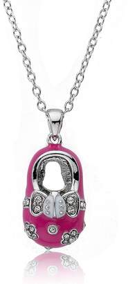 Little Miss Twin Stars Pave Stone Pink Enamel Shoebsessed Pendant Necklace