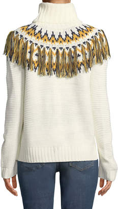 Free Generation Fair Isle Fringe Long-Sleeve Turtleneck Sweater