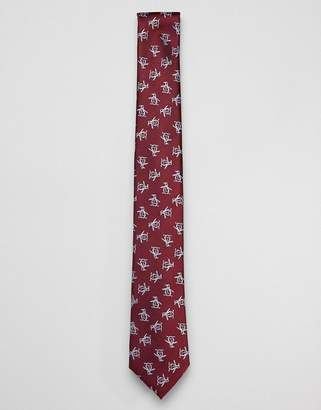 Original Penguin logo silk printed tie