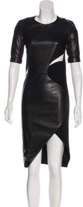 Thierry Mugler Leather Short Sleeve Dress w/ Tags