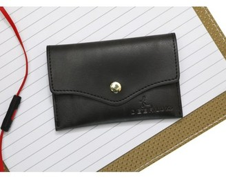 DEERLUX Black Leather Card Holder with Snap, Small Leather Wallet