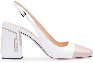 Prada white and beige sling back pumps