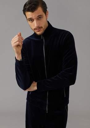 Giorgio Armani Full Zip Cotton Velvet Sweatshirt