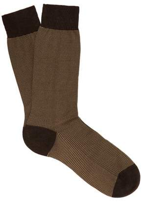Pantherella Tewkesbury Bird's Eye Weave Socks - Mens - Brown