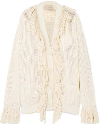 Christopher Kane Fringed Open-knit Cotton Cardigan - Cream