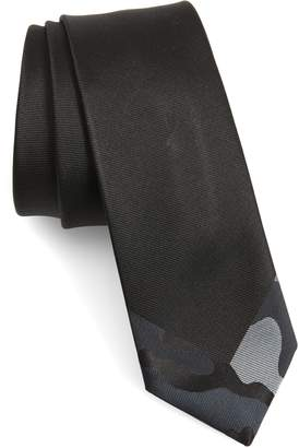 Valentino Camo Tipped Silk Skinny Tie