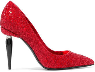 Oscar de la Renta Mariacarla Embellished Leather Pumps - Red