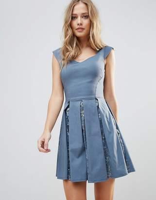 City Goddess Skater Mini Dress With Sequin Pleat Detail