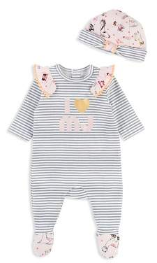 Little Marc Jacobs Girls' Striped I Love MJ Footie & Hat Set - Baby