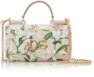 Dolce & Gabbana Floral-Print Textured-Leather Bag