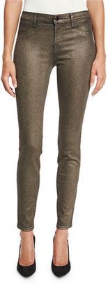 J Brand Cosmos Metallic Mid-Rise Super Skinny Jeans, Bronze $248 thestylecure.com