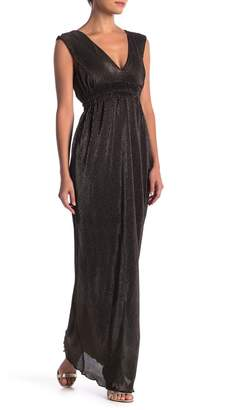 Romeo & Juliet Couture Pleated Metallic V-Neck Maxi Dress
