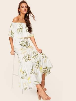 Shein Floral Print Off The Shoulder Contrast Trim Dress