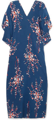 Jaline - Beatriz Floral-print Silk Crepe De Chine Maxi Dress - Navy
