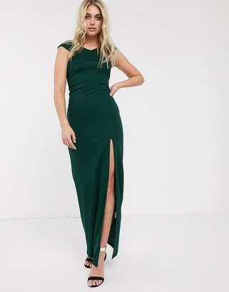 AX Paris satin bardot maxi dress with slit