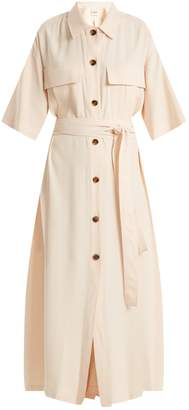 Leilani KHAITE tie-waist button-down crepe dress