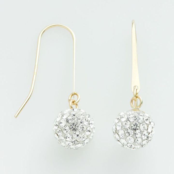 14k Gold Crystal Drop Earrings