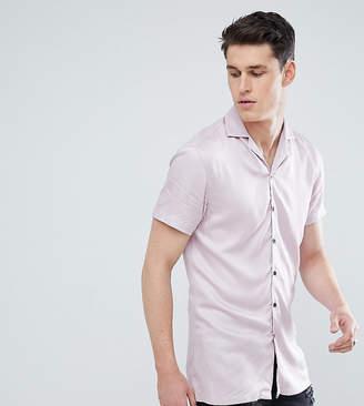 Noose & Monkey Tall Revere Collar Viscose Short Sleeve Shirt In Pink