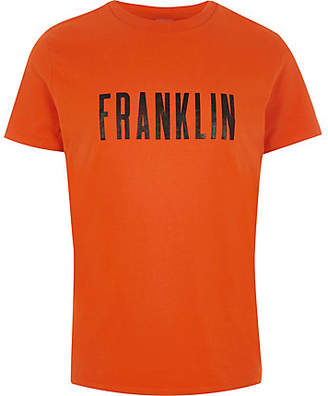 River Island Franklin and Marshall orange 'Franklin' T-shirt