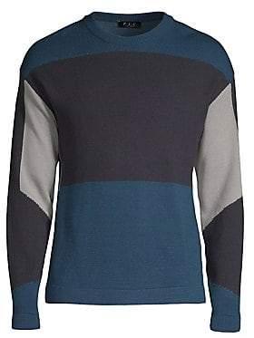 P.L.C. P.L.C. Men's Wool-Blend Color Block Pullover