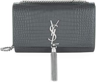 Saint Laurent Medium Croc Kate Monogram Tassel Shoulder Bag