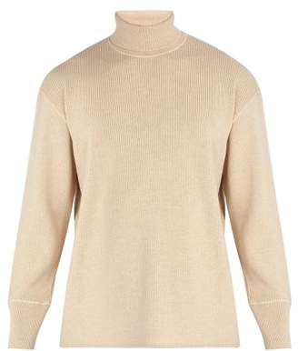 Jil Sander Ribbed Wool And Cotton Blend Roll Neck Sweater - Mens - Beige