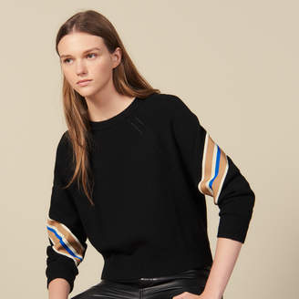 Sandro Sweater With Wide Striped Braid Edging