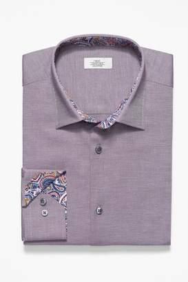 Next Mens Purple Slim Fit Single Cuff Textured Shirt With Floral Trim
