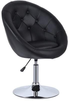 Sunrain Adjustable PU Leather Chair Modern Swivel Armchair Round Tufted Back Accent Chair Comfortable Household Office Seat