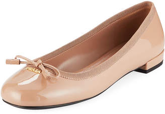 Prada Patent Ballet Flats with Bow
