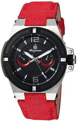 Burgmeister Women's Quartz Watch with Black Dial Analogue Display and Red Fabric and Canvas Bracelet BM220-924