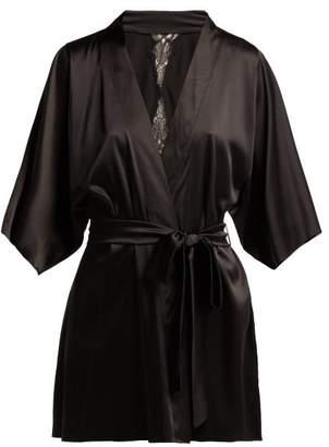 Fleur of England Lace Back Silk Blend Kimono Robe - Womens - Black