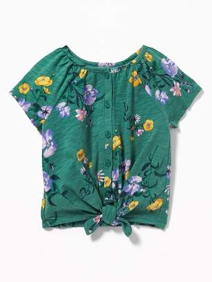 Old Navy Button-Front Tie-Hem Jersey Top for Toddler Girls